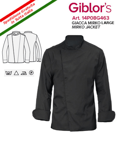 Gb8-F28D - GIACCA CUOCO GIBLOR'S MIRKO LARGE- Nero