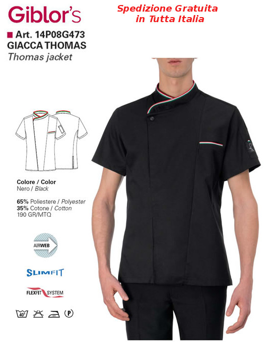 Gb8-F66A - GIACCA CHEF GIBLIR'S THOMAS - Nero