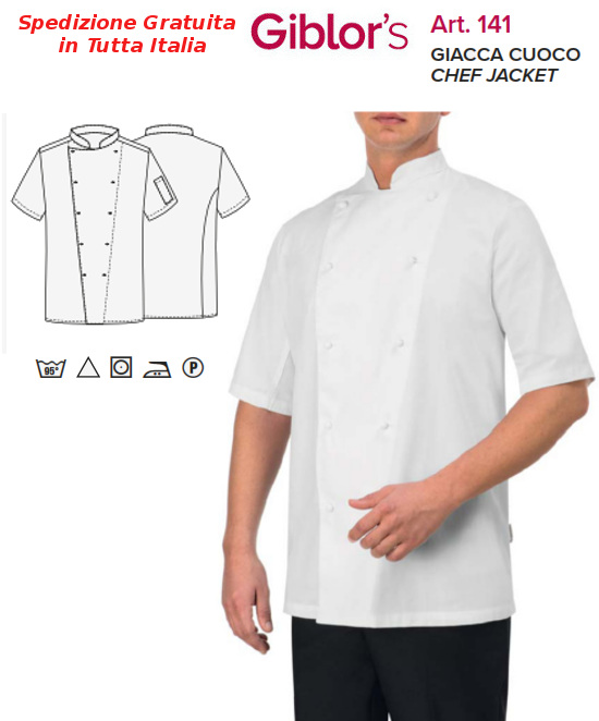 Gb8-F83C - GIACCA CHEF GIBLOR'S Large - Bianco