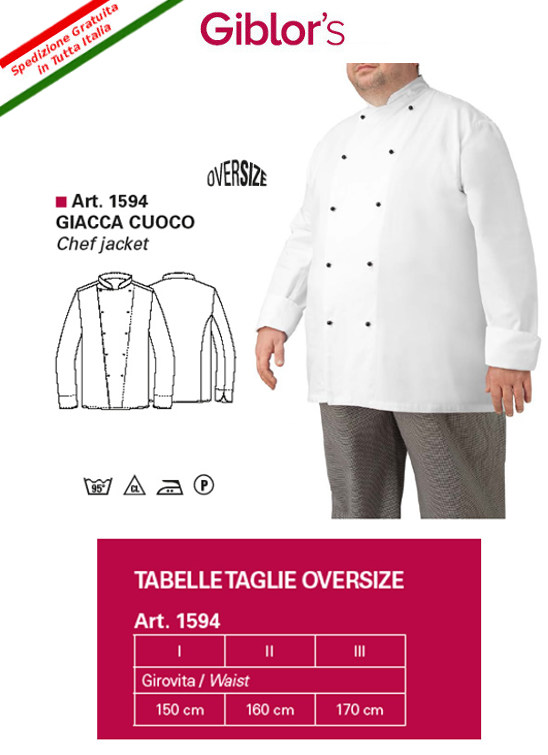 Gb9-F65A - GIACCA CHEF GIBLOR 'S DORIANO LARGE - Bianco